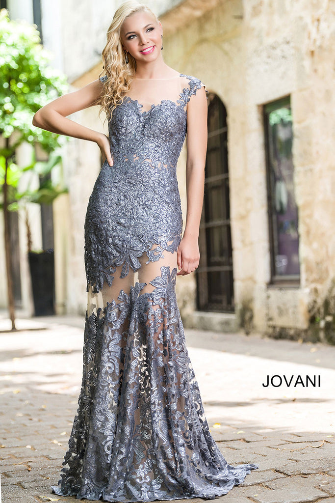 Jovani White Lace Sheath Prom Dress 21226