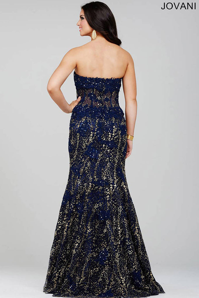 Jovani Navy Blue Trumpet Prom Dress 21470