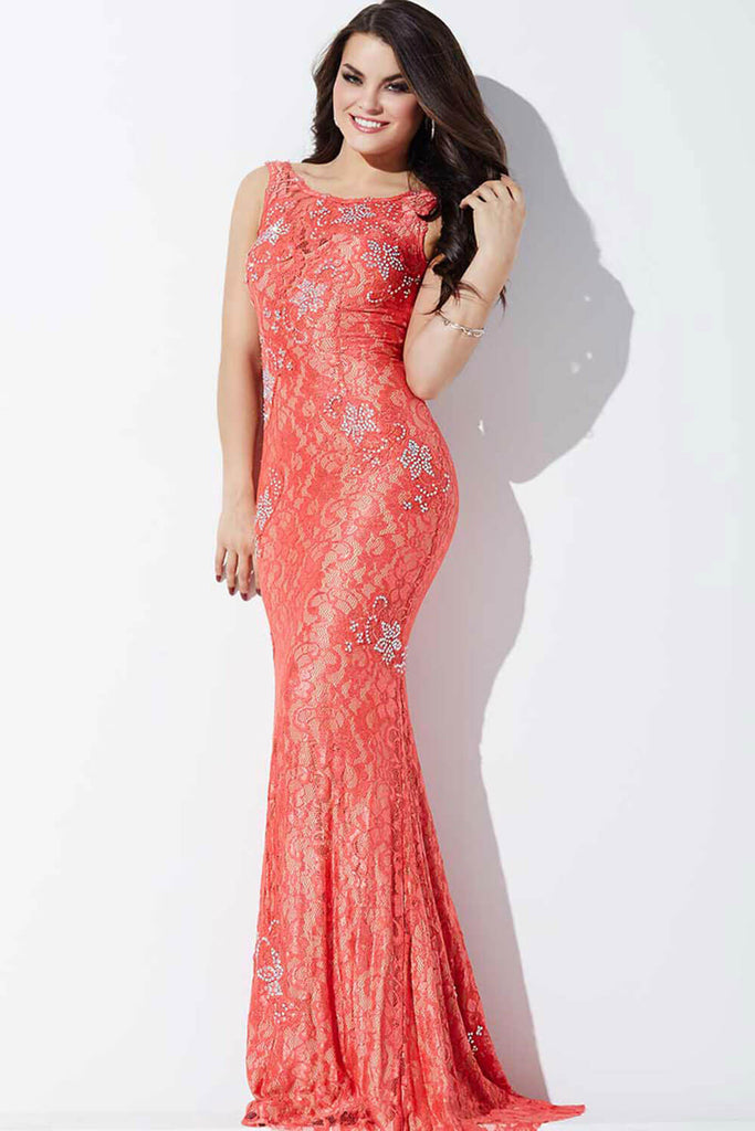 Jovani High Neckline Lace Prom Dress 21789