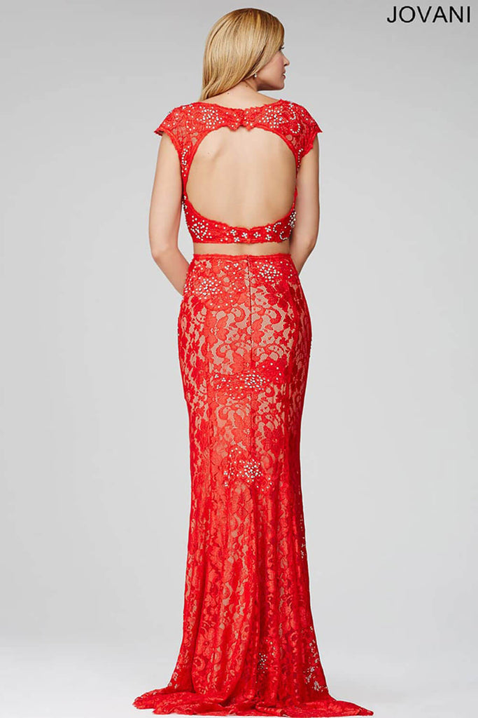Jovani Red Two-Piece Jersey Lace Top Dress 24241
