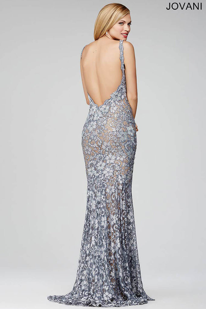 Jovani Two Straps Silver Fitted 26533