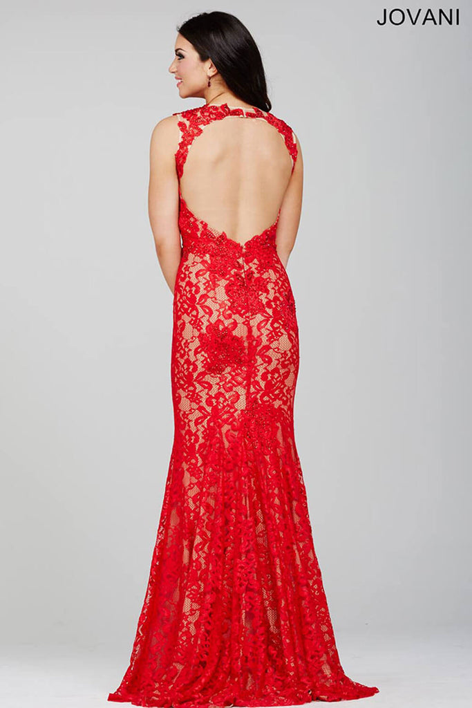 Jovani Red Sleeveless Fitted Lace Dress 27305