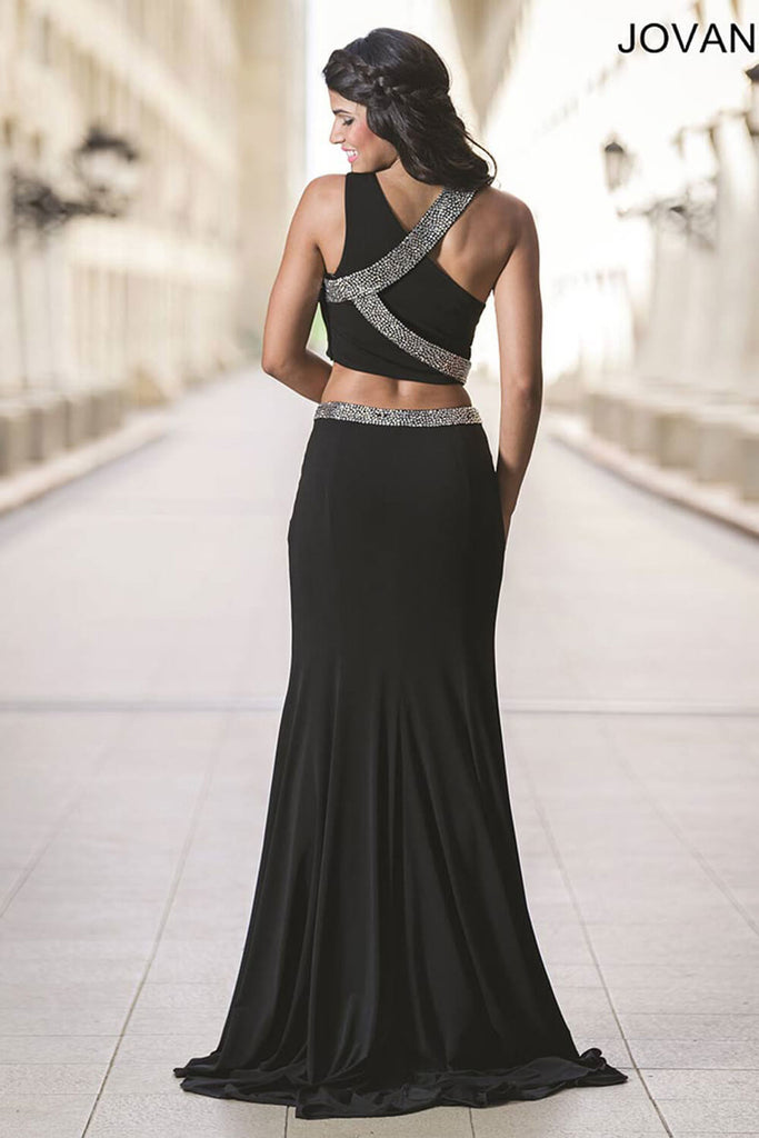 Jovani Black Two-Piece High Slit Dress 28596