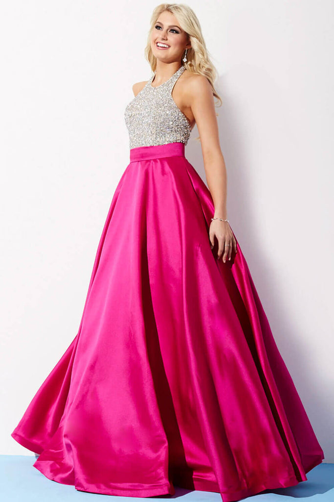 Jovani Royal and Silver Halter Ballgown Prom Dress 29160