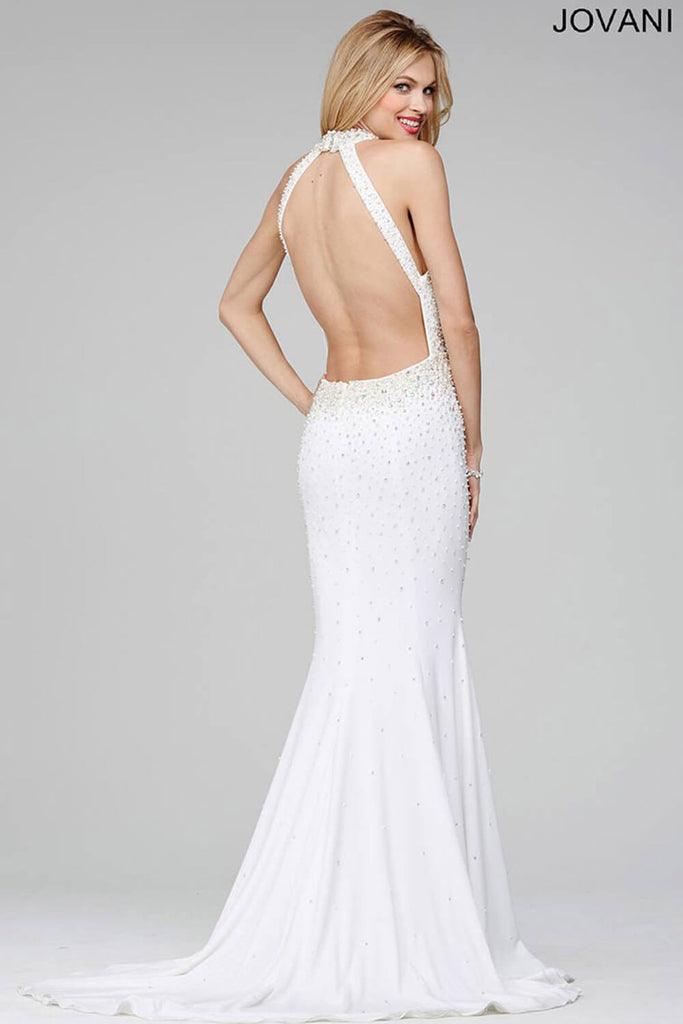 Jovani Off-White Sleeveless Halter Fitted Dress 29343
