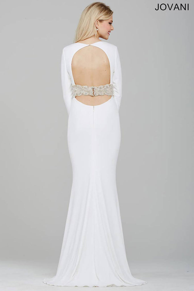 Jovani Off-White Long Sleeve Fitted Jersey Dress 31059