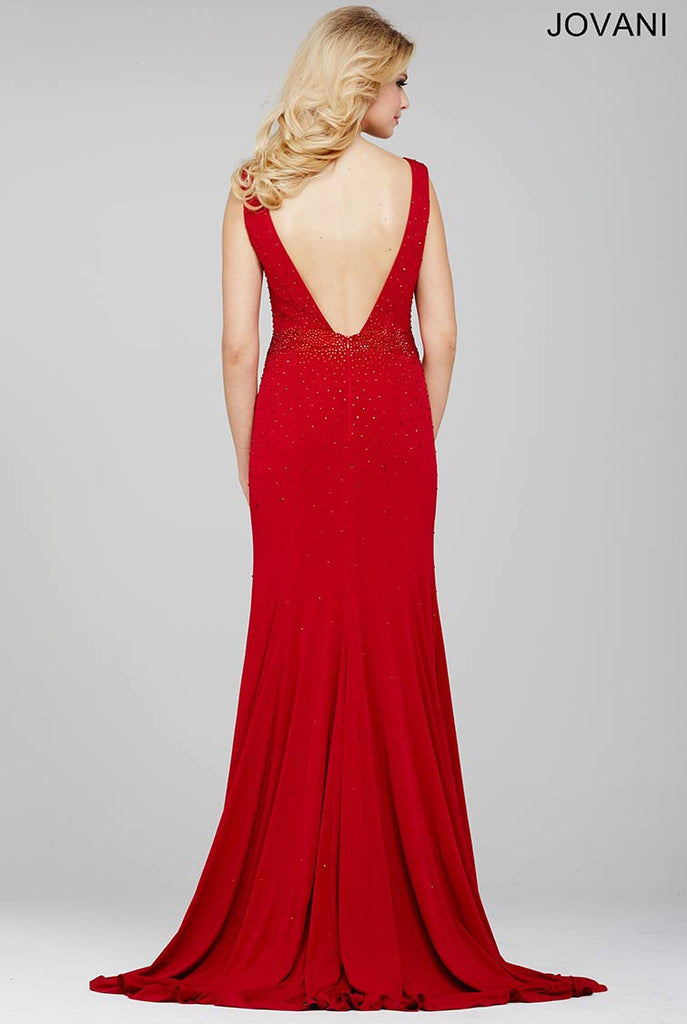 Jovani Red Sleeveless Jersey Prom Dress 32024