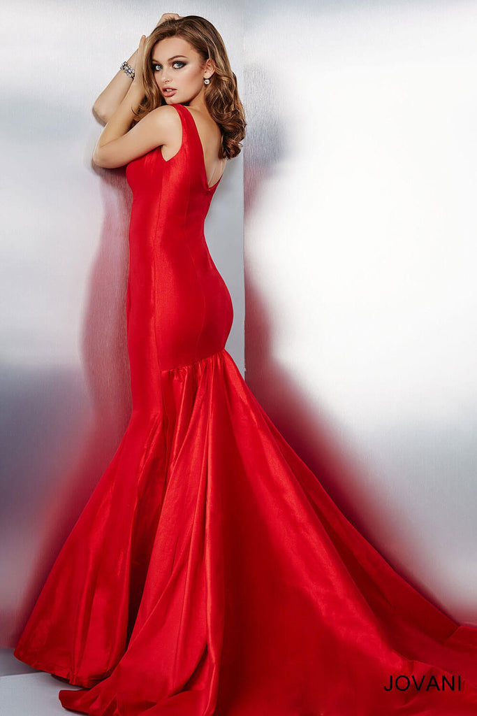 Jovani Red Mermaid Sleeveless Dress 32515