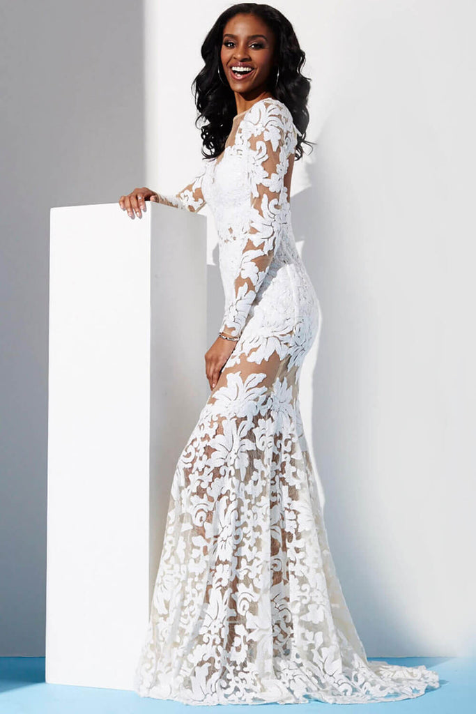 7ffcf8269b8f Jovani White Long Sleeve Lace Dress 32607 – Olga s Bridal Store