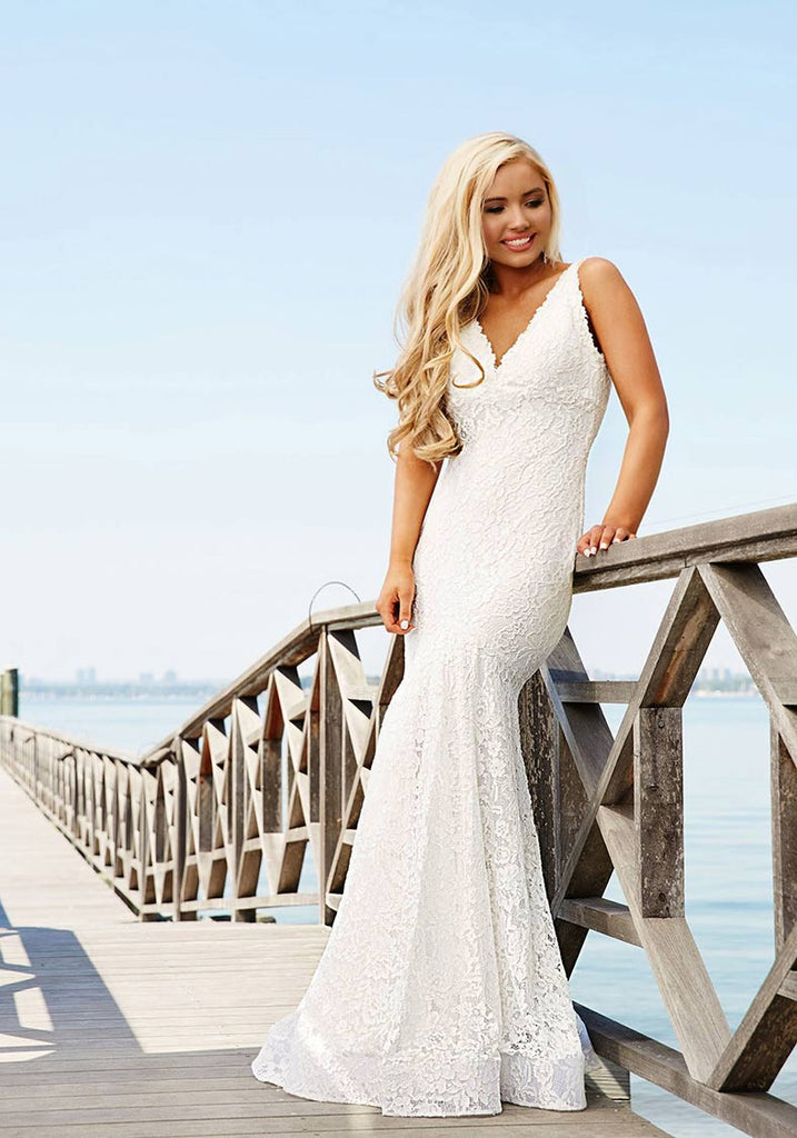Jovani V- Neckline Long White Dress 33050