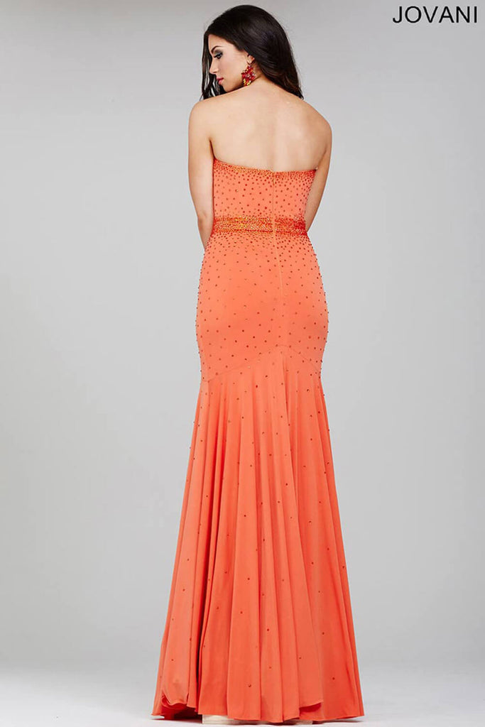 Jovani Orange Jersey Strapless Prom Dress 33058
