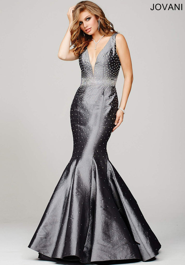 Jovani Gunmetal Grey Mermaid Prom Dress 33072 – Olga\'s Bridal Store
