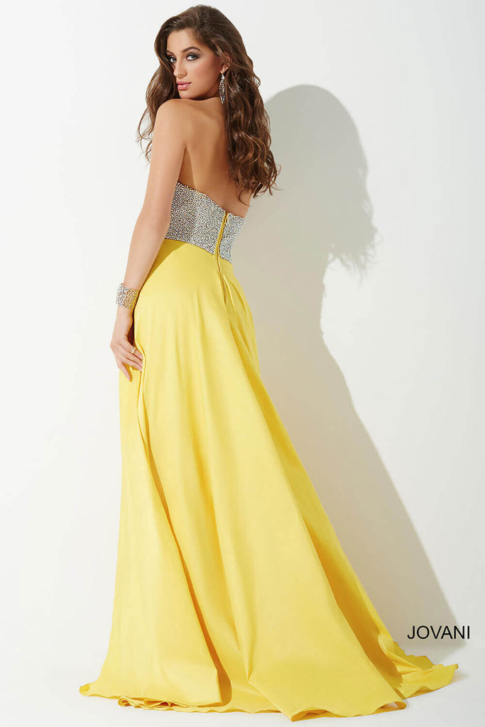 Jovani Yellow Strapless Embellished Bodice Dress 33175