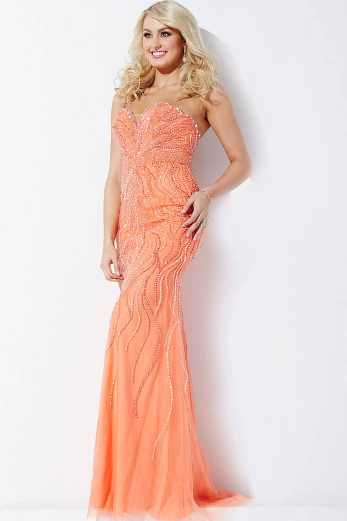 Jovani Gunmetal/Nude Strapless Beaded Dress 33692