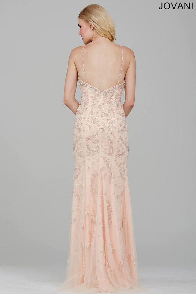 Jovani Blush Beaded Prom Dress 33704