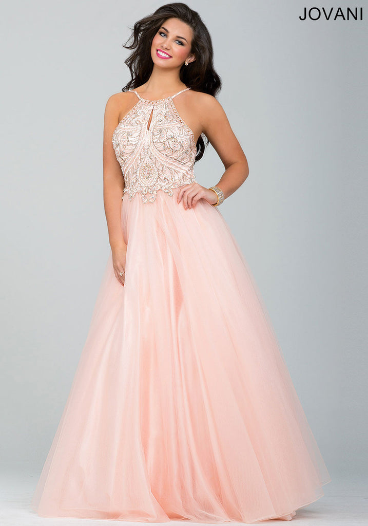2f566411a328 ... Jovani Blush Sleeveless Tulle Ballgown Halter Dress 33850. 33850_1 ...