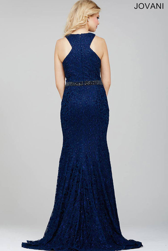 Jovani Navy Blue Lace Prom Dress 35098