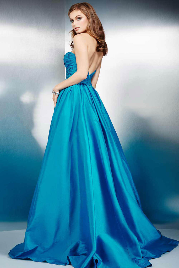 Jovani Teal Strapless Prom Dress 36163