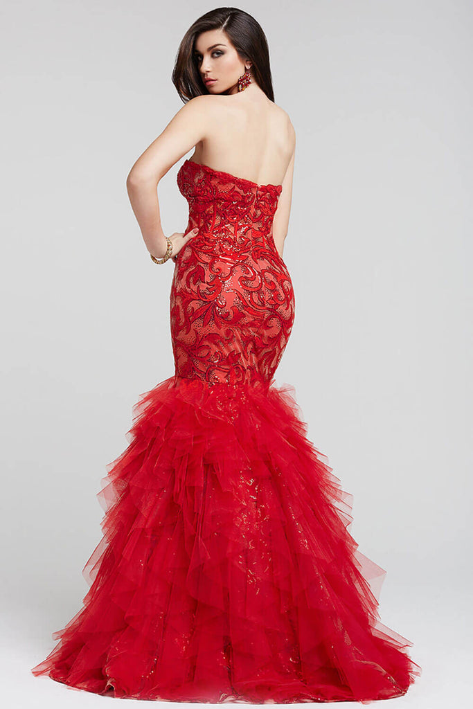 Jovani Red Sweetheart Tiered Prom Dress 36299