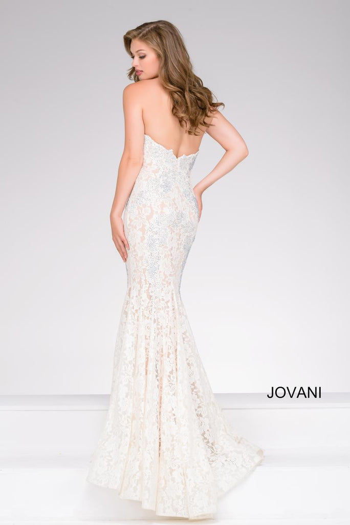 Jovani Fitted Strapless Lace Prom Dress 37334