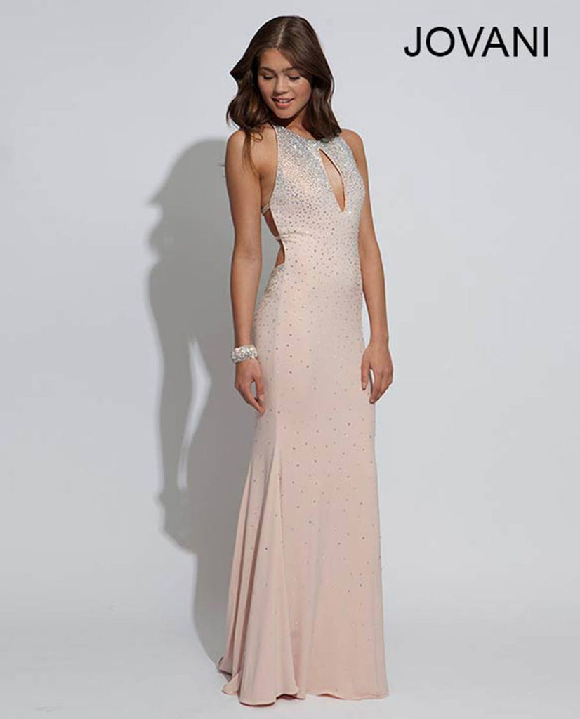 Jovani Blush Sleeveless Jersey Prom Dress 90640