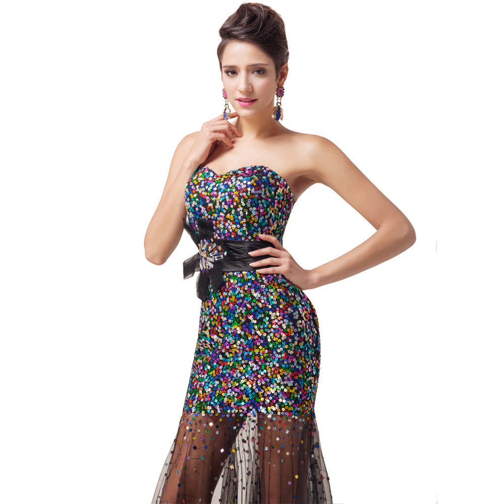 Black Sequin Long Evening Dress