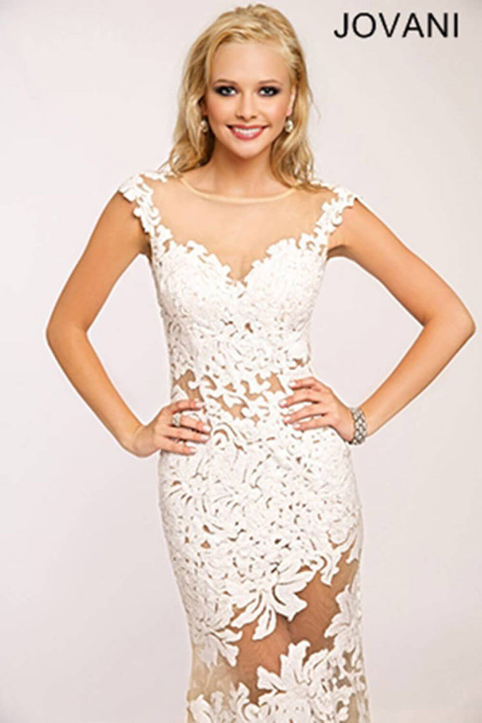 Jovani White Lace Sheath Prom Dress 21226 – Olga\'s Bridal Store