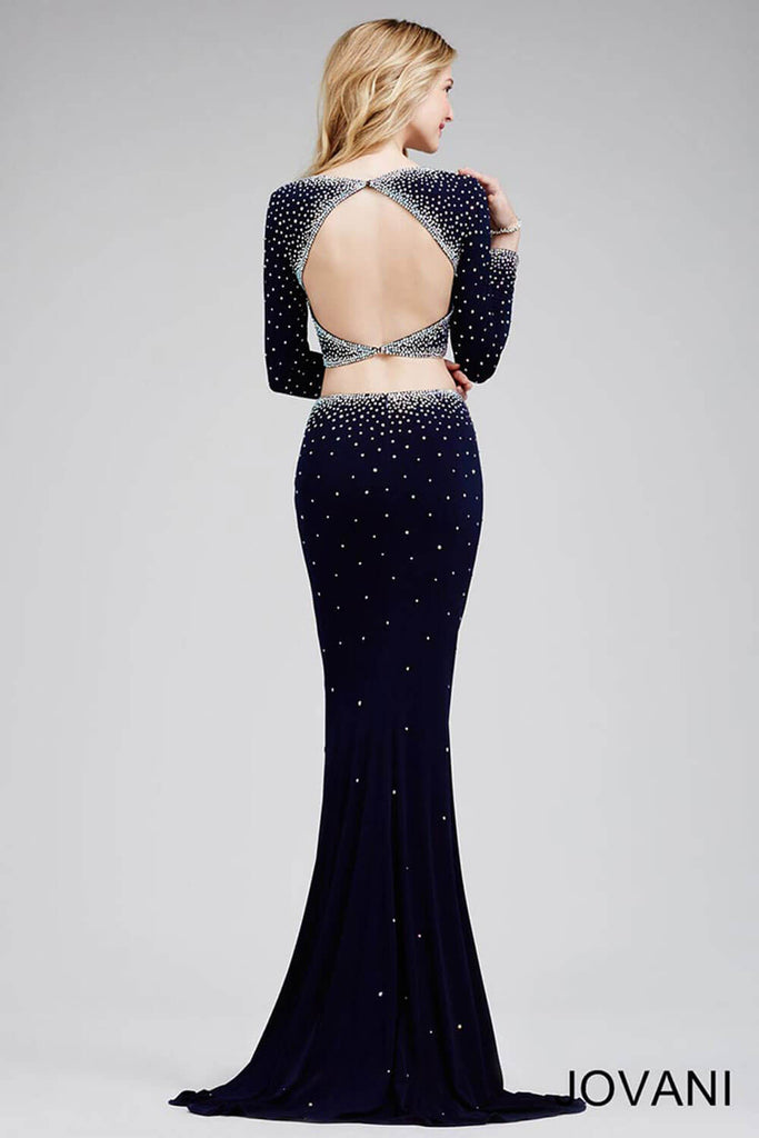 Jovani Navy Two-Piece Long-Sleeve Dress 24600