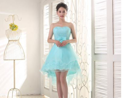 Lace Bust Short Satin Organza Homecoming Dress