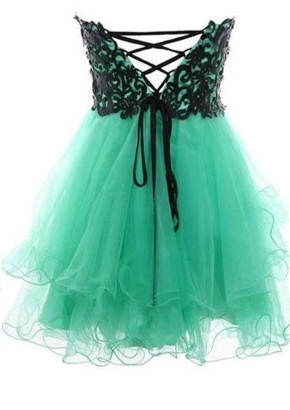 Lace Aqua Short Prom Dress
