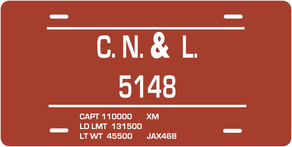 Columbia, Newberry & Laurens (CN&L) Box Car License Plate