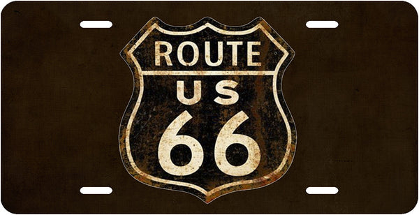 Route 66 Vintage Sign License Plate