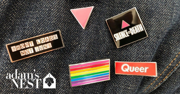 Queer Pin Pack Pink Triangle Gilber Baker Rainbow Silence Equals Death Queer Shoot Loads Not Guns