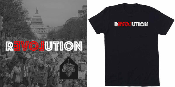 love revolution t-shirt supporting dream corps adam's nest provincetown