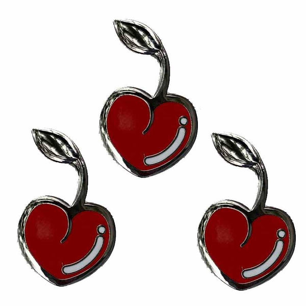 3 cherry enamel lapel pins