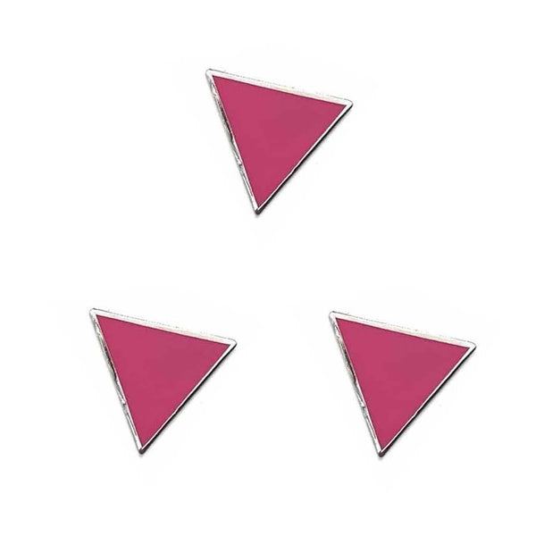 3 pink triangle enamel pins