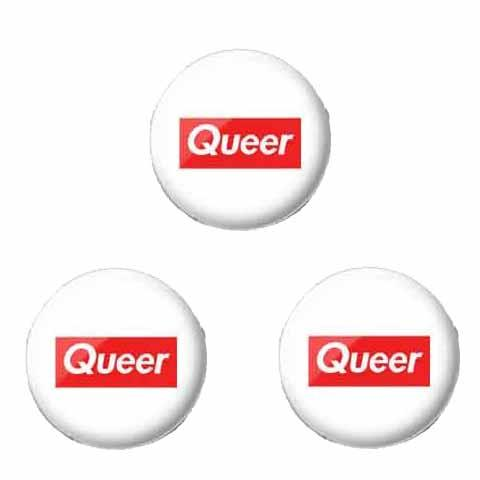 3 queer 1 inch buttons