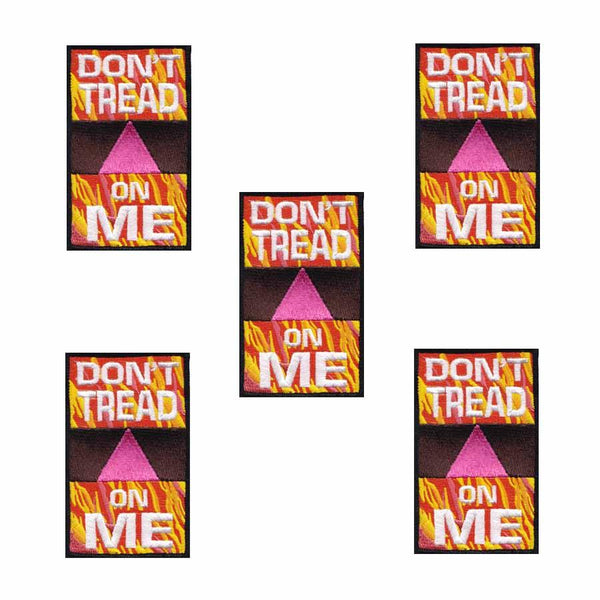 "5 ""don't tread on me"" anonymous queer pink triangle fire flame patches"