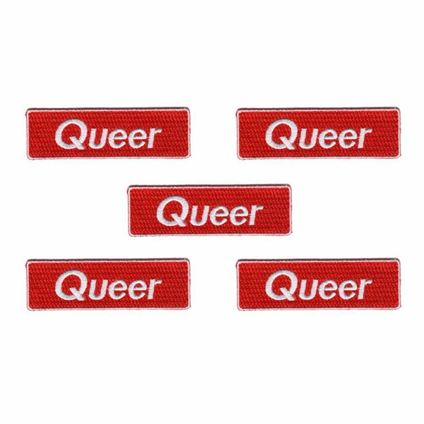 5 queer red rectangle patch supporting trevor project