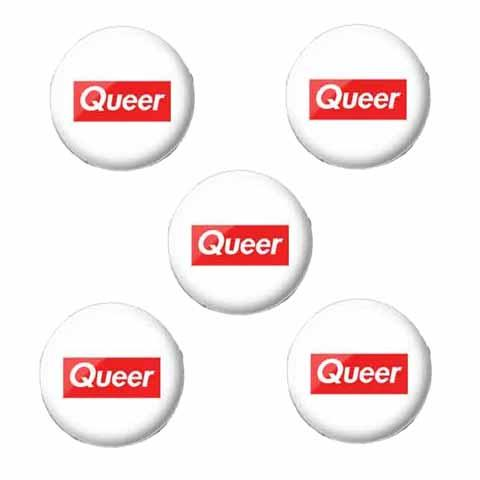 5 queer 1 inch buttons