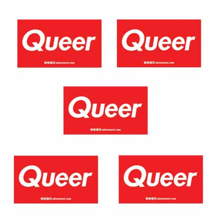 5 queer red rectangle stickers