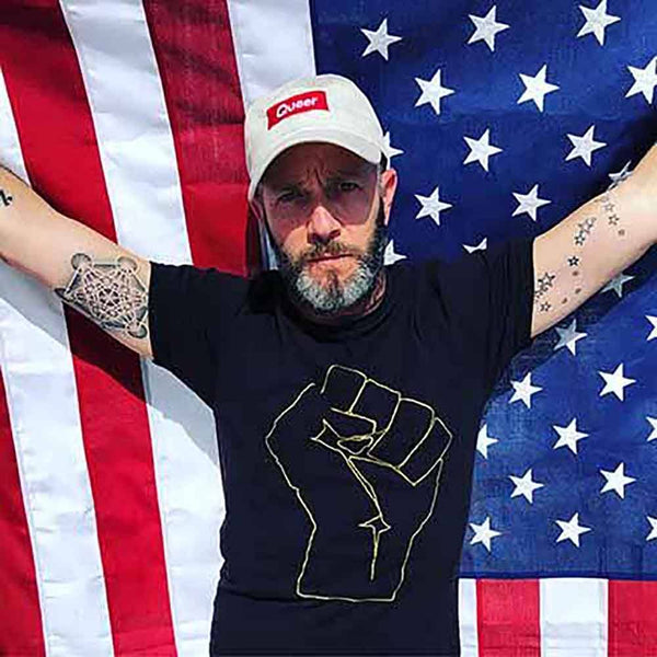 solidarity fist t-shirt aclu adams nest black adam singer