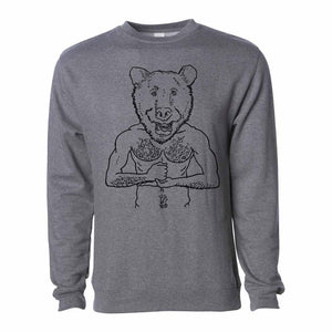 Brian kenny bear head crew sweatshirt gunmetal heather