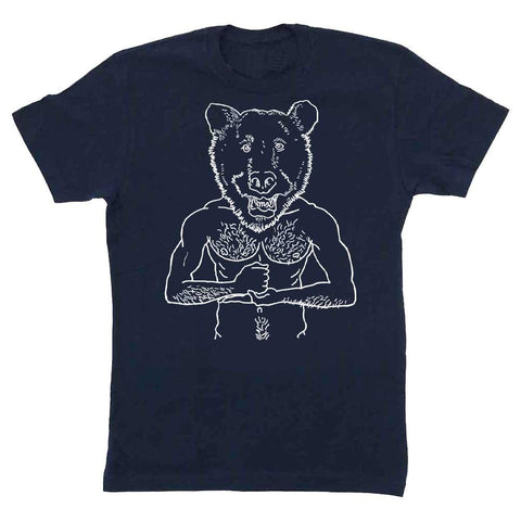 Brian Kenny Bear Head T-shirt bear week provincetown adams nest midnight navy