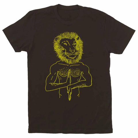 brian kenny lion head leo t-shirt dark chocolate