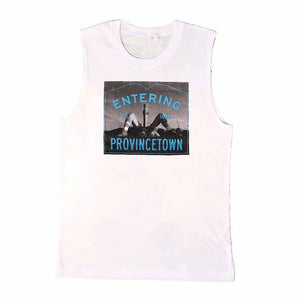 entering provincetown pilgrim monument adams nest sleeveless t-shirt