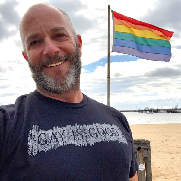 GAY IS GOOD T-shirt supporting ONE Archives Foundation black adam singer