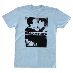 read my lips gran fury vintage photo men kissing t-shirt light blue