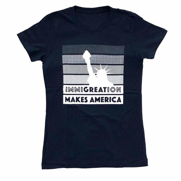 Immigration Women's T-shirt supporting RAICES navy