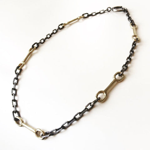 Bit Chain Bronze and Oxidized Silver Necklace